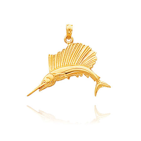 Gold Sailfish Pendant